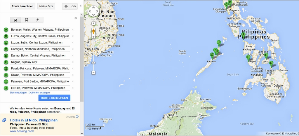 Route Philippinen